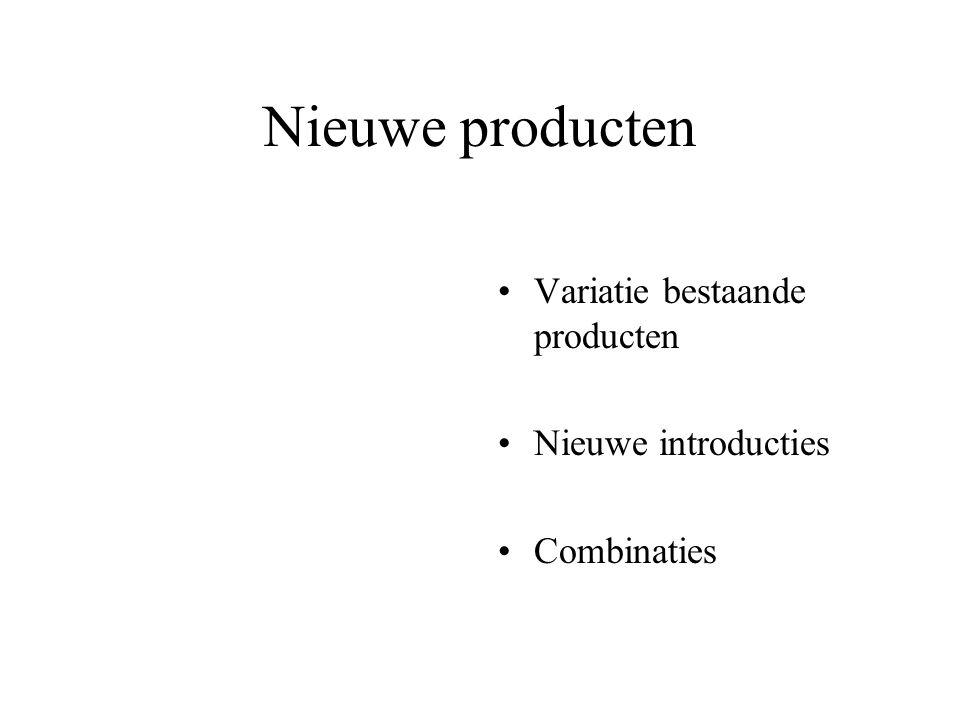Nieuwe producten Variatie bestaande producten Nieuwe introducties Combinaties