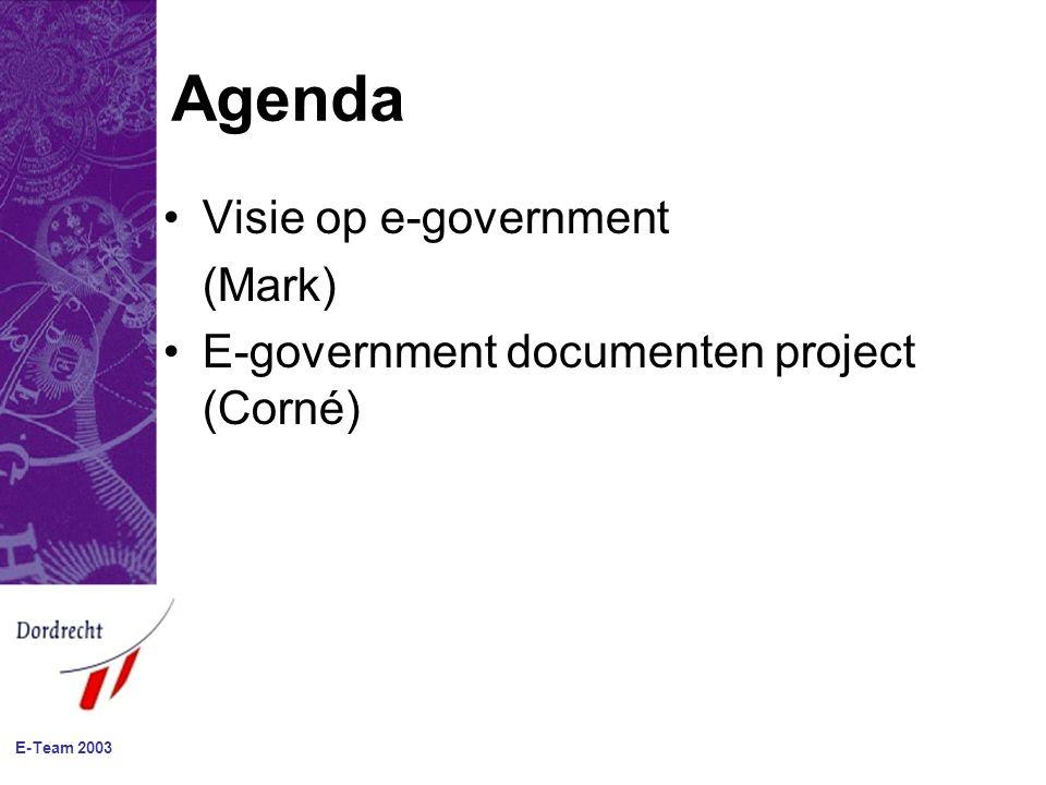 E-Team 2003 Van aanbod naar vraag Klant Product Front Back-office Systemen Processen Personen Autonomie, meervoudige registraties, het zelfde gegeven!, output.