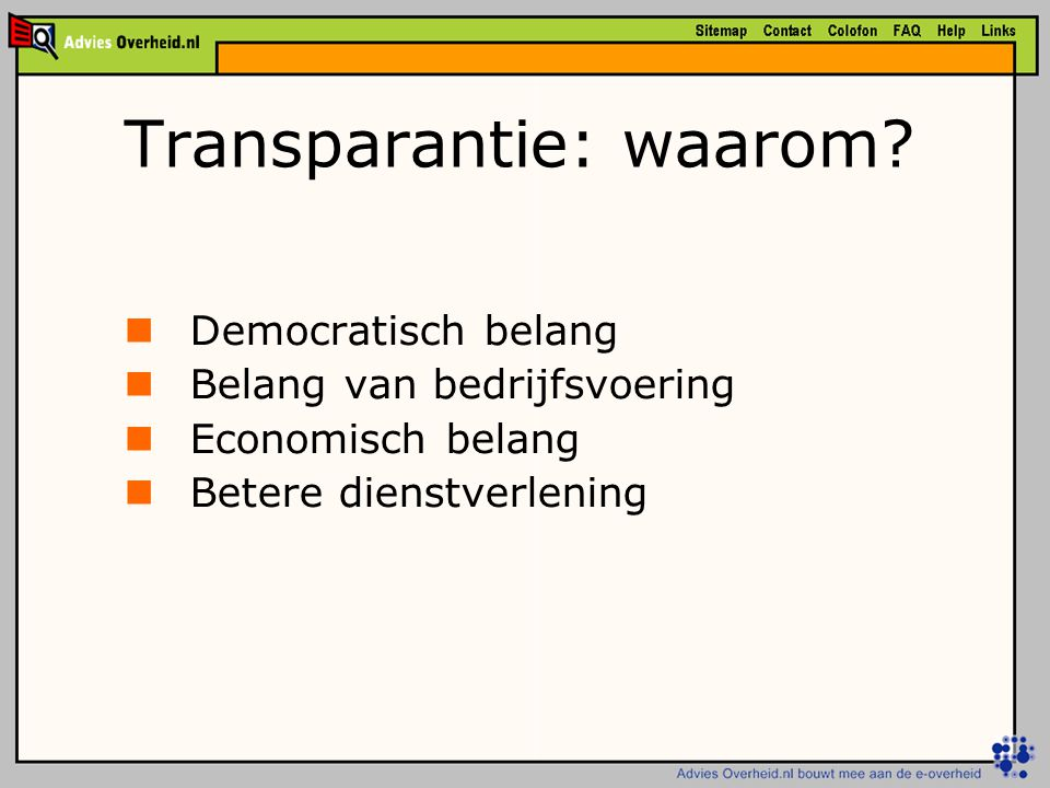 Transparantie: waarom.