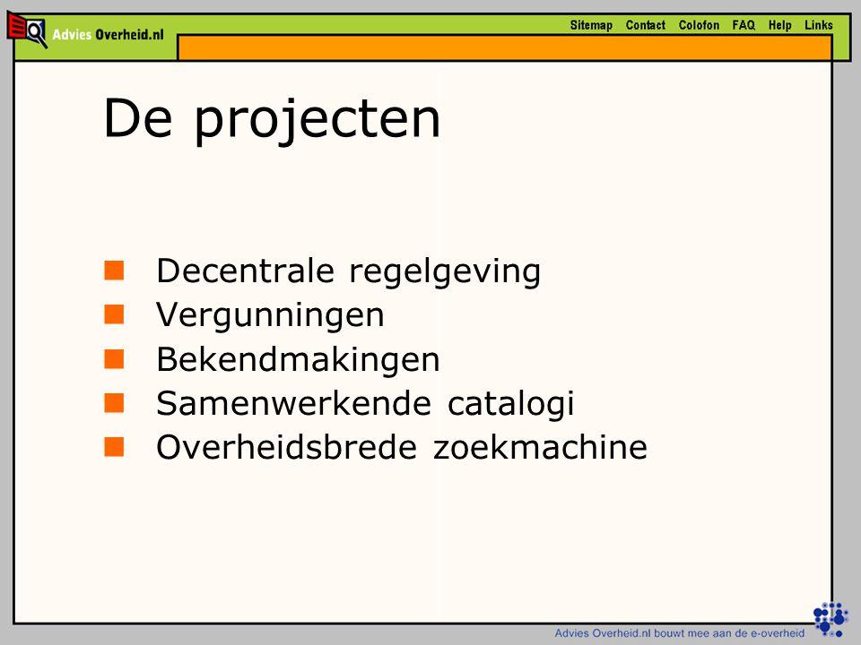 De projecten Decentrale regelgeving Vergunningen Bekendmakingen Samenwerkende catalogi Overheidsbrede zoekmachine
