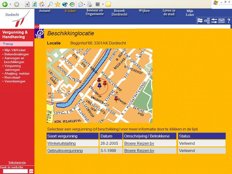 Beschikkinglocatie Locatie:Begijnhof 66, 3301AK Dordrecht Winkeluitstalling28-2-2005Verleend Soort vergunningDatumStatus 3-1-1999VerleendGebruiksvergunning Selecteer een vergunning (of beschikking) voor meer informatie door te klikken in de lijst.