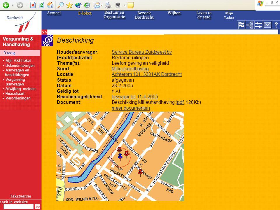 Beschikking Houder/aanvrager:Service Bureau Zuidgeest bvService Bureau Zuidgeest bv (Hoofd)activiteit:Reclame-uitingen Thema('s):Leefomgeving en veiligheid Soort:MilieuhandhavingMilieuhandhaving Locatie:Achterom 101, 3301AK DordrechtAchterom 101, 3301AK Dordrecht Status:afgegeven Datum:28-2-2005 Geldig tot:n.v.t.