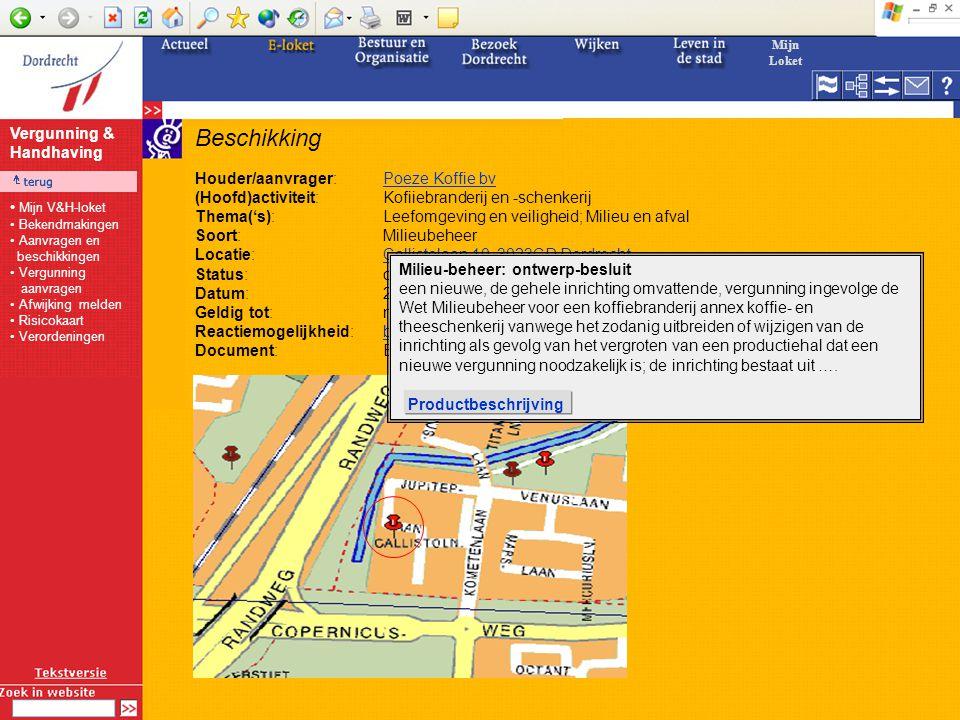Beschikking Houder/aanvrager:Poeze Koffie bvPoeze Koffie bv (Hoofd)activiteit:Kofiiebranderij en -schenkerij Thema('s):Leefomgeving en veiligheid; Milieu en afval Soort:Milieubeheer Locatie:Callistolaan 10, 3023CD DordrechtCallistolaan 10, 3023CD Dordrecht Status:ontwerp-besluit Datum:24-2-2005 Geldig tot:n.v.t.