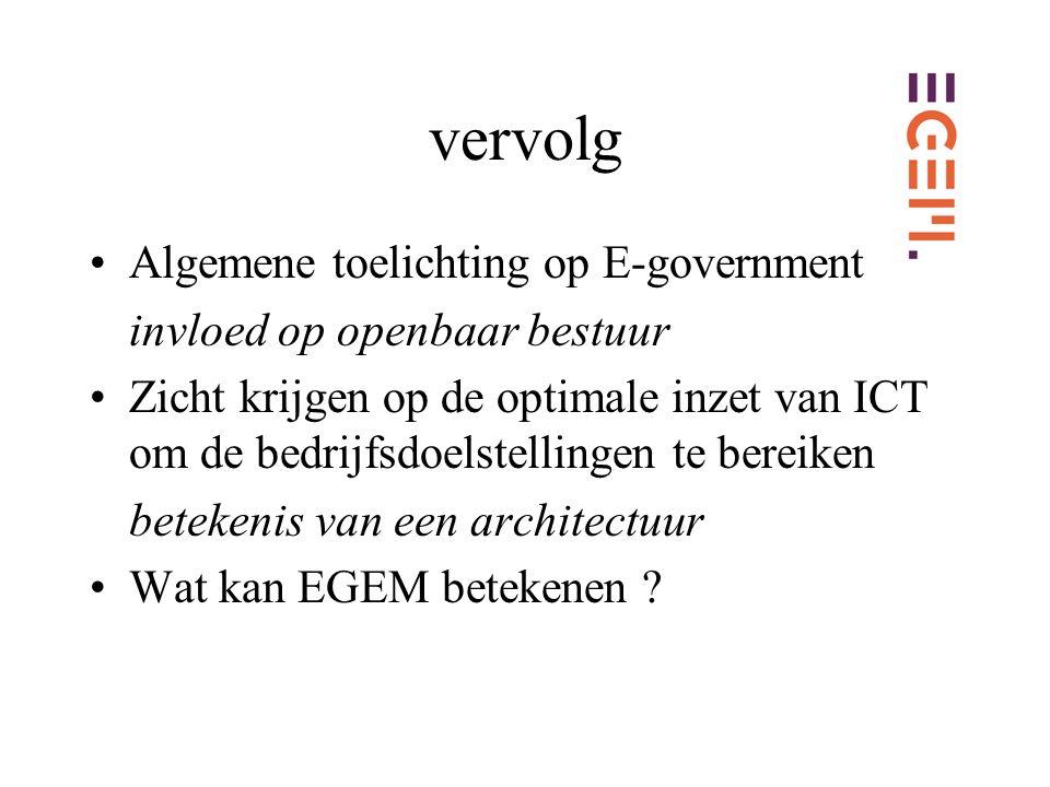 vervolg Algemene toelichting op E-government invloed op openbaar bestuur Zicht krijgen op de optimale inzet van ICT om de bedrijfsdoelstellingen te bereiken betekenis van een architectuur Wat kan EGEM betekenen