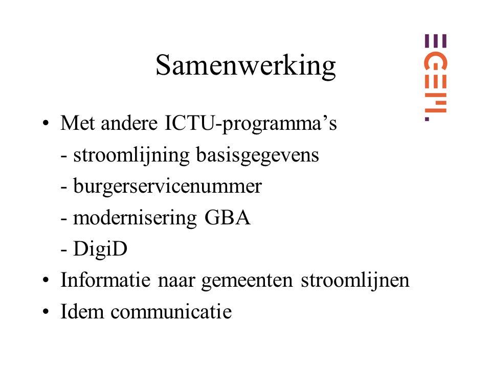 Samenwerking Met andere ICTU-programma's - stroomlijning basisgegevens - burgerservicenummer - modernisering GBA - DigiD Informatie naar gemeenten stroomlijnen Idem communicatie