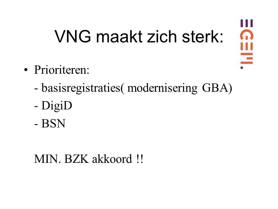 VNG maakt zich sterk: Prioriteren: - basisregistraties( modernisering GBA) - DigiD - BSN MIN.