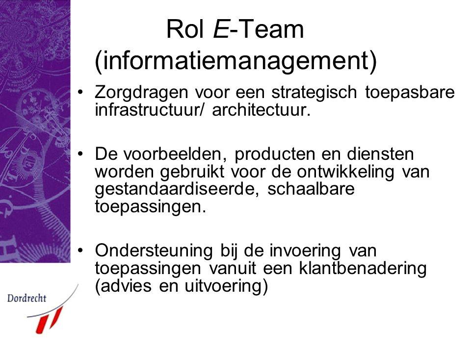 Rol E-Team (informatiemanagement) Zorgdragen voor een strategisch toepasbare infrastructuur/ architectuur.