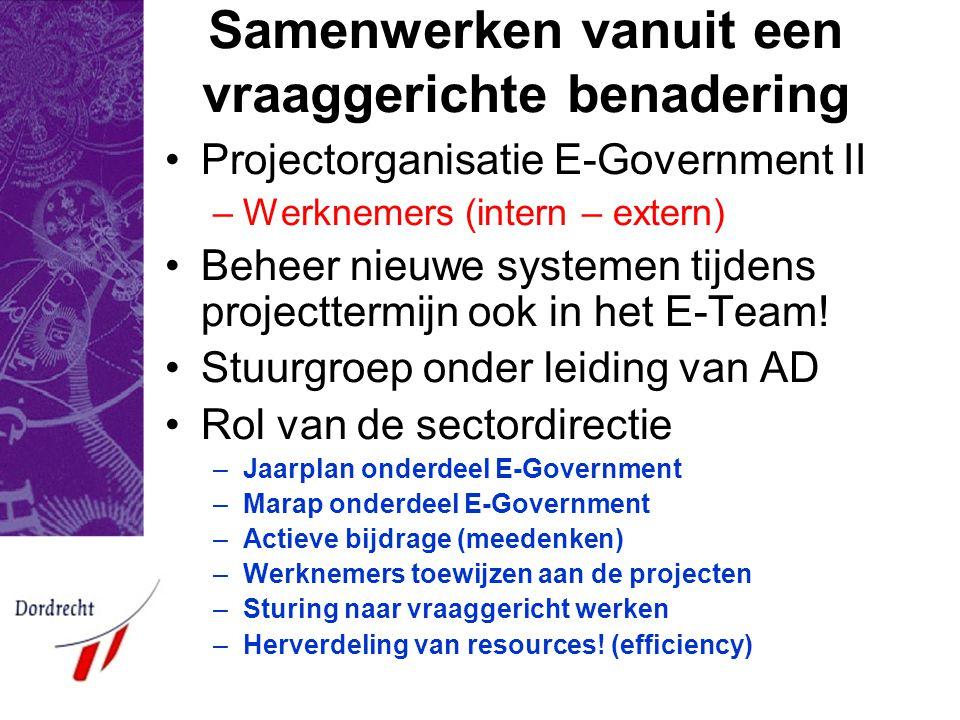 Samenwerken vanuit een vraaggerichte benadering Projectorganisatie E-Government II –Werknemers (intern – extern) Beheer nieuwe systemen tijdens projecttermijn ook in het E-Team.