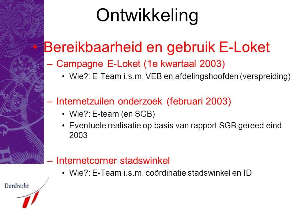 Ontwikkeling Bereikbaarheid en gebruik E-Loket –Campagne E-Loket (1e kwartaal 2003) Wie?: E-Team i.s.m.