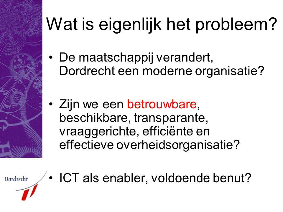 Wat is eigenlijk het probleem.De maatschappij verandert, Dordrecht een moderne organisatie.