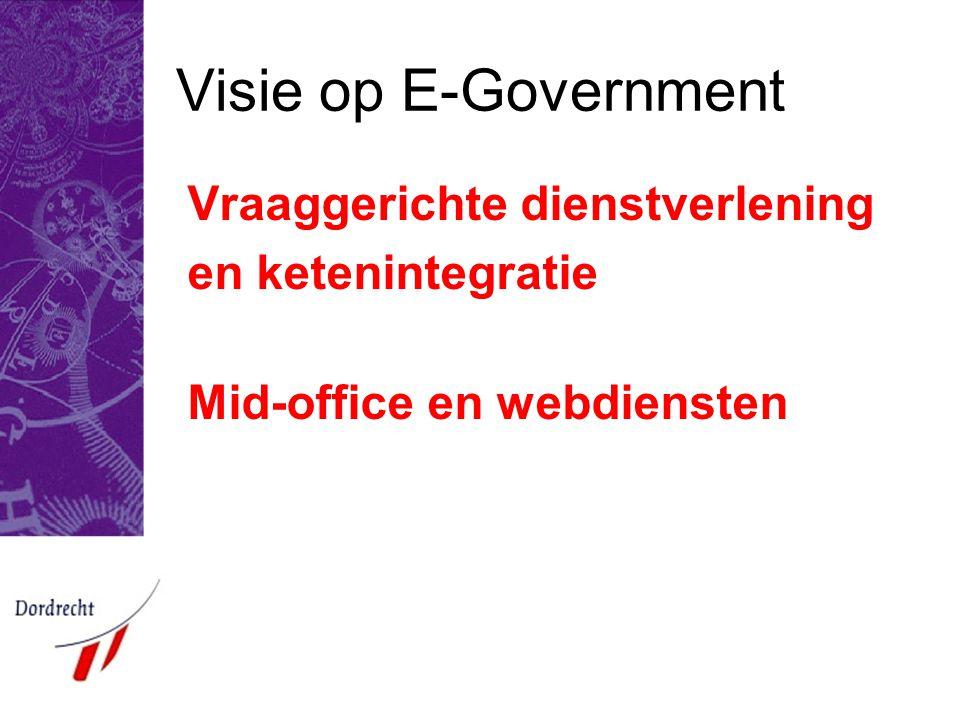 Visie op E-Government Vraaggerichte dienstverlening en ketenintegratie Mid-office en webdiensten