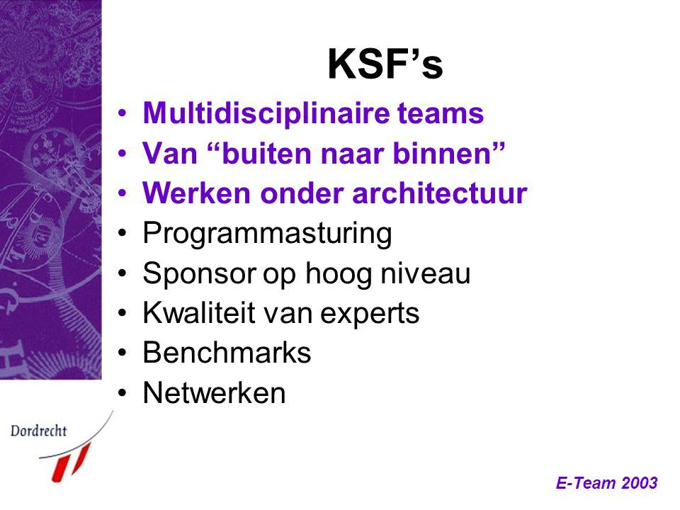 """E-Team 2003 KSF's Multidisciplinaire teams Van """"buiten naar binnen"""" Werken onder architectuur Programmasturing Sponsor op hoog niveau Kwaliteit van ex"""