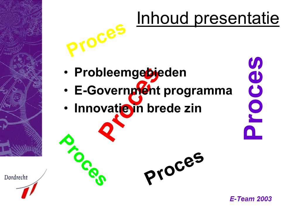 E-Team 2003 Inhoud presentatie Proces Probleemgebieden E-Government programma Innovatie in brede zin Proces