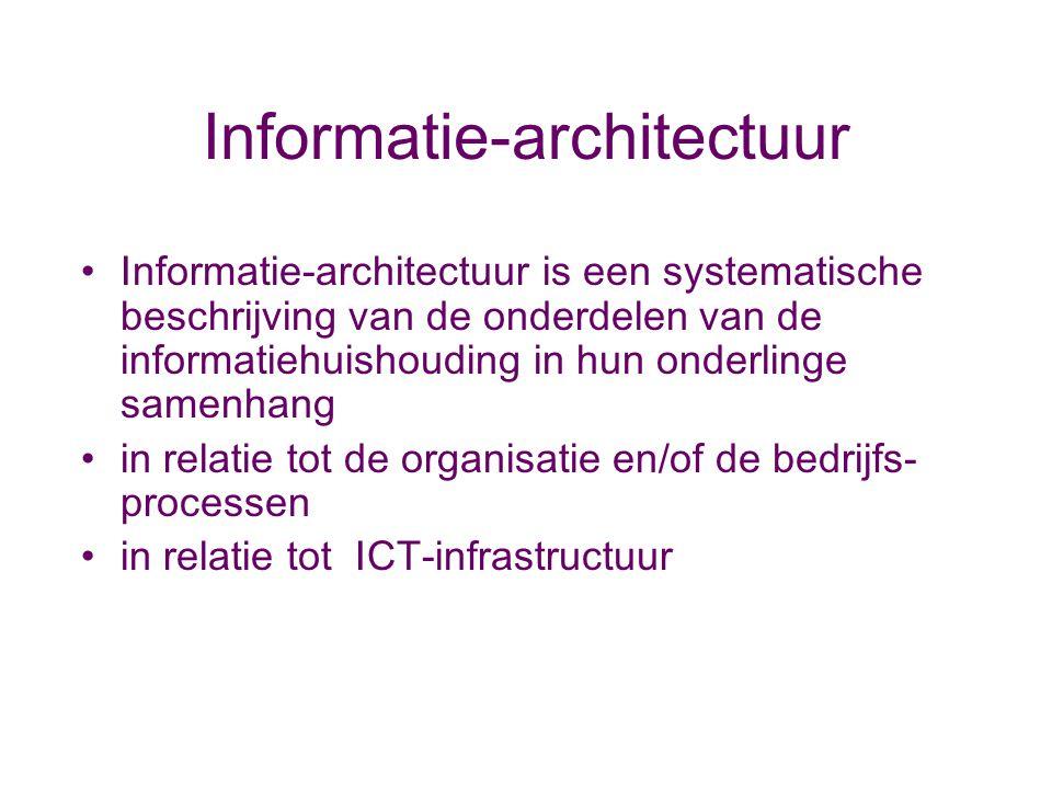 Informatie-architectuur Informatie-architectuur is een systematische beschrijving van de onderdelen van de informatiehuishouding in hun onderlinge sam