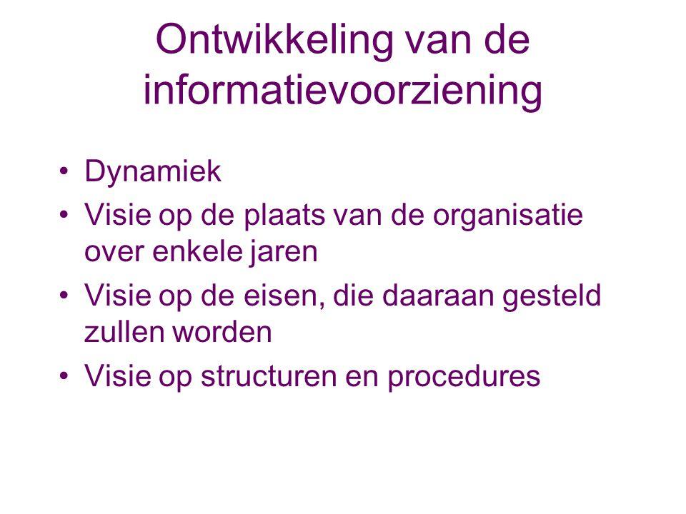 Ontwikkeling van de informatievoorziening Dynamiek Visie op de plaats van de organisatie over enkele jaren Visie op de eisen, die daaraan gesteld zull