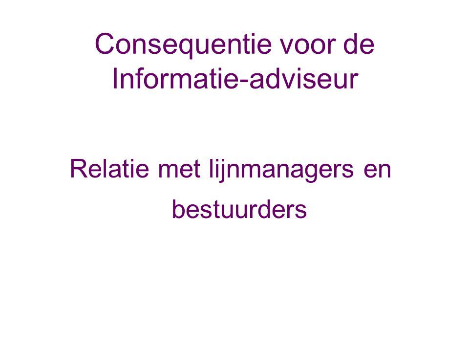 Consequentie voor de Informatie-adviseur Relatie met lijnmanagers en bestuurders
