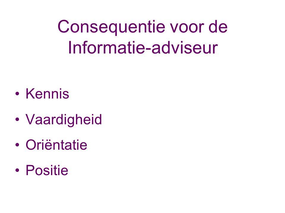 Consequentie voor de Informatie-adviseur Kennis Vaardigheid Oriëntatie Positie