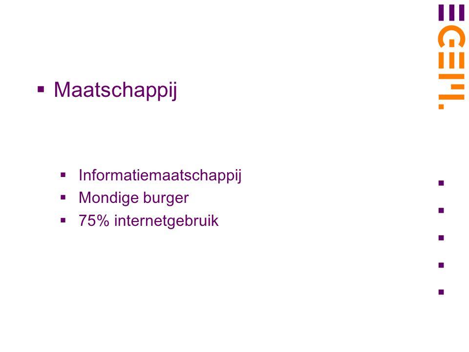  Maatschappij  Informatiemaatschappij  Mondige burger  75% internetgebruik