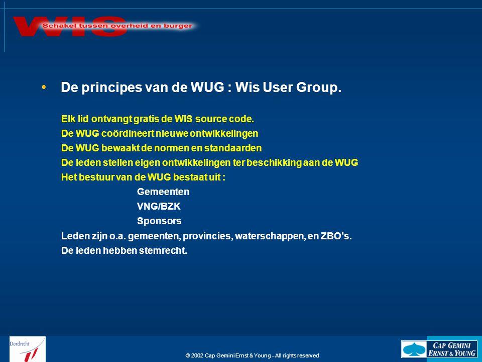 © 2002 Cap Gemini Ernst & Young - All rights reserved WIS maakt gebruik van een eigen database en is te koppelen aan meerdere basissystemen