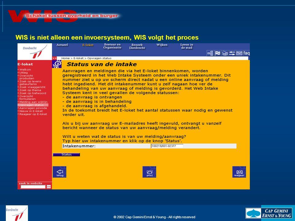 © 2002 Cap Gemini Ernst & Young - All rights reserved WIS is niet alleen een invoersysteem, WIS volgt het proces