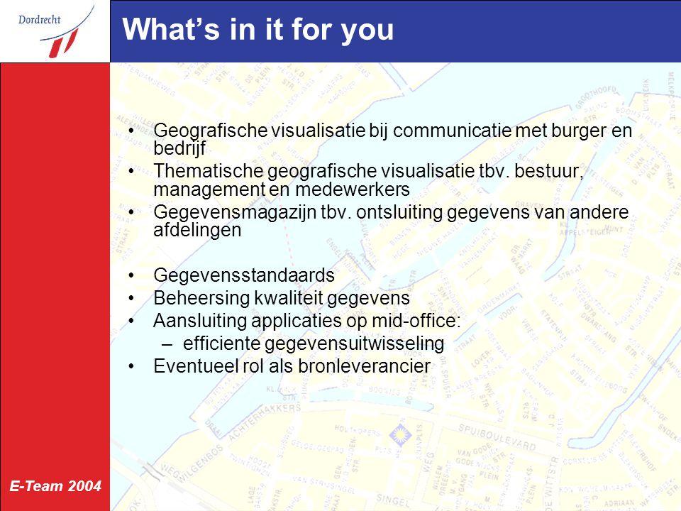 E-Team 2004 What's in it for you Geografische visualisatie bij communicatie met burger en bedrijf Thematische geografische visualisatie tbv.