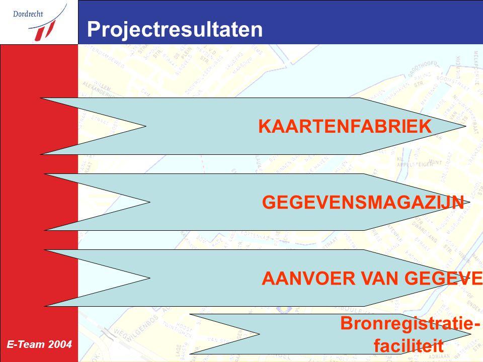 E-Team 2004 Projectresultaten KAARTENFABRIEK GEGEVENSMAGAZIJN AANVOER VAN GEGEVENS Bronregistratie- faciliteit