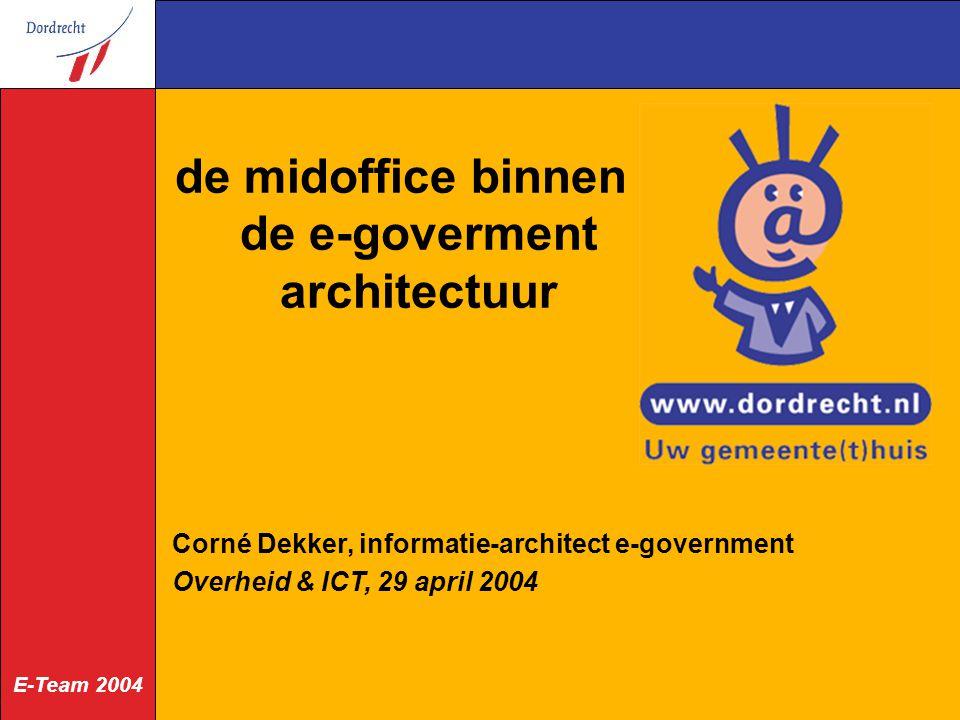 E-Team 2004 de midoffice binnen de e-goverment architectuur Corné Dekker, informatie-architect e-government Overheid & ICT, 29 april 2004