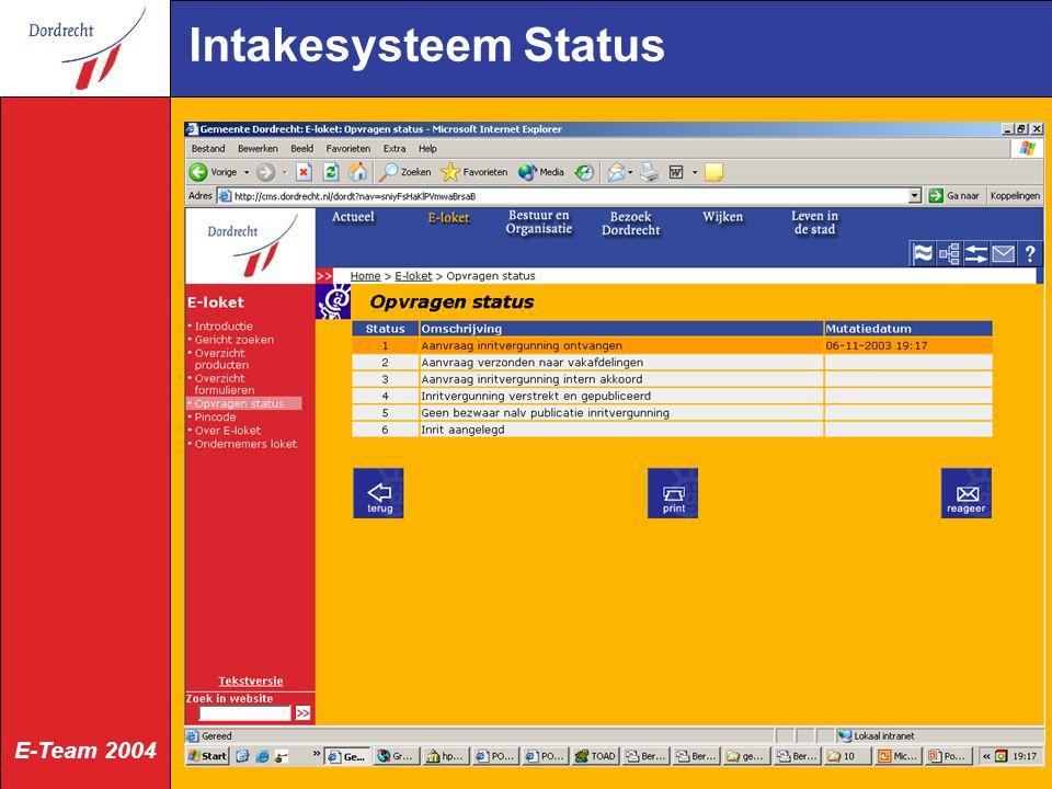 E-Team 2004 Intakesysteem Status