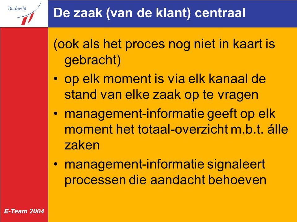 E-Team 2004 De zaak (van de klant) centraal (ook als het proces nog niet in kaart is gebracht) op elk moment is via elk kanaal de stand van elke zaak op te vragen management-informatie geeft op elk moment het totaal-overzicht m.b.t.