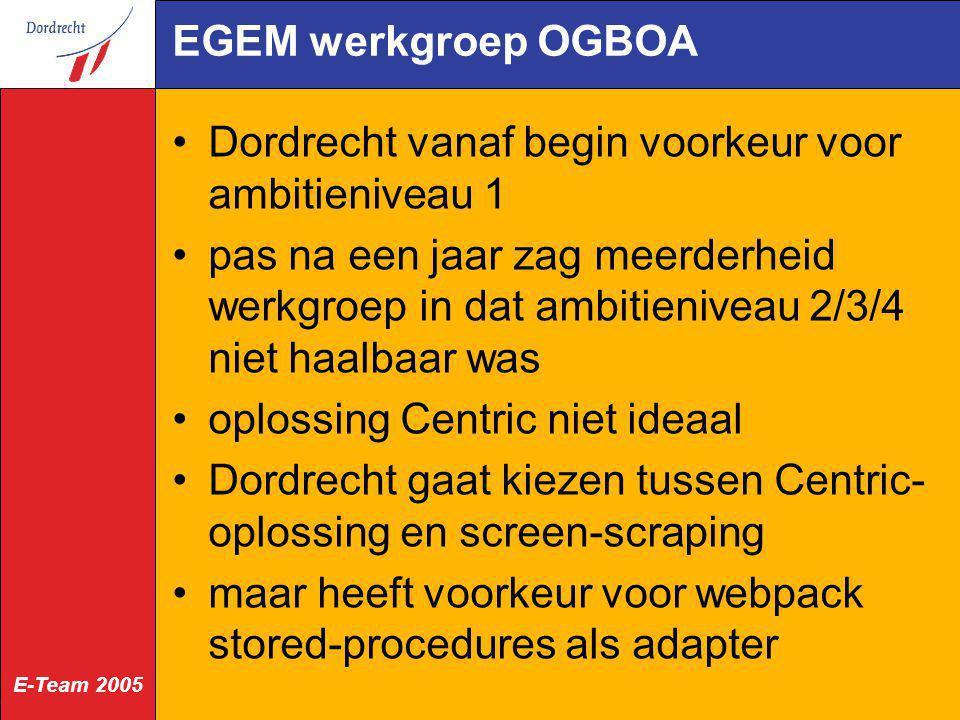 E-Team 2005 EGEM werkgroep OGBOA Dordrecht vanaf begin voorkeur voor ambitieniveau 1 pas na een jaar zag meerderheid werkgroep in dat ambitieniveau 2/