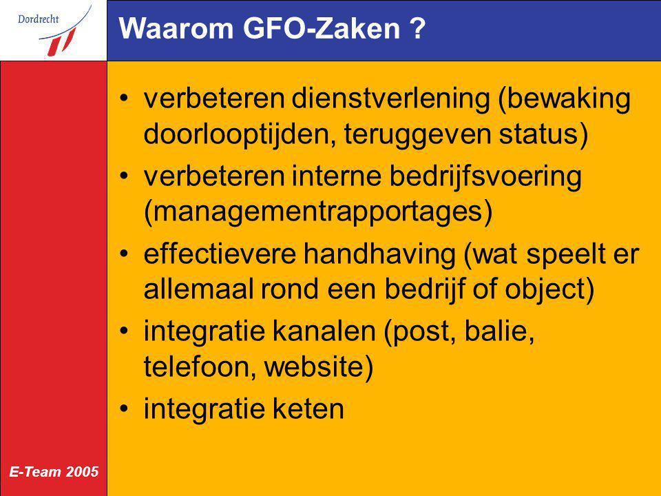 E-Team 2005 Waarom GFO-Zaken ? verbeteren dienstverlening (bewaking doorlooptijden, teruggeven status) verbeteren interne bedrijfsvoering (managementr