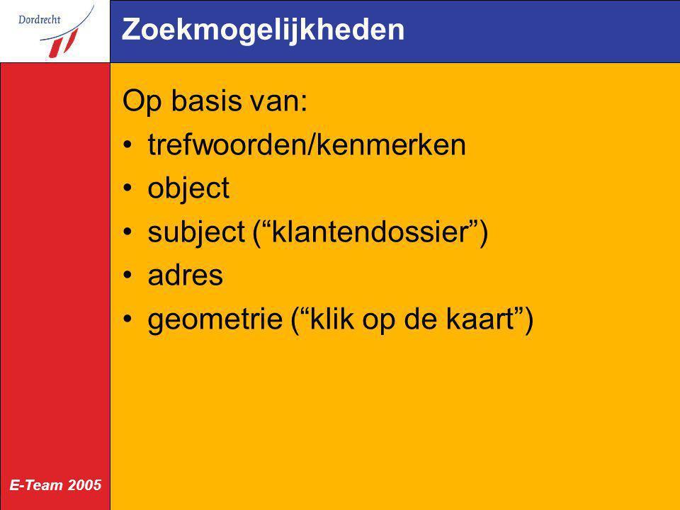 """E-Team 2005 Zoekmogelijkheden Op basis van: trefwoorden/kenmerken object subject (""""klantendossier"""") adres geometrie (""""klik op de kaart"""")"""