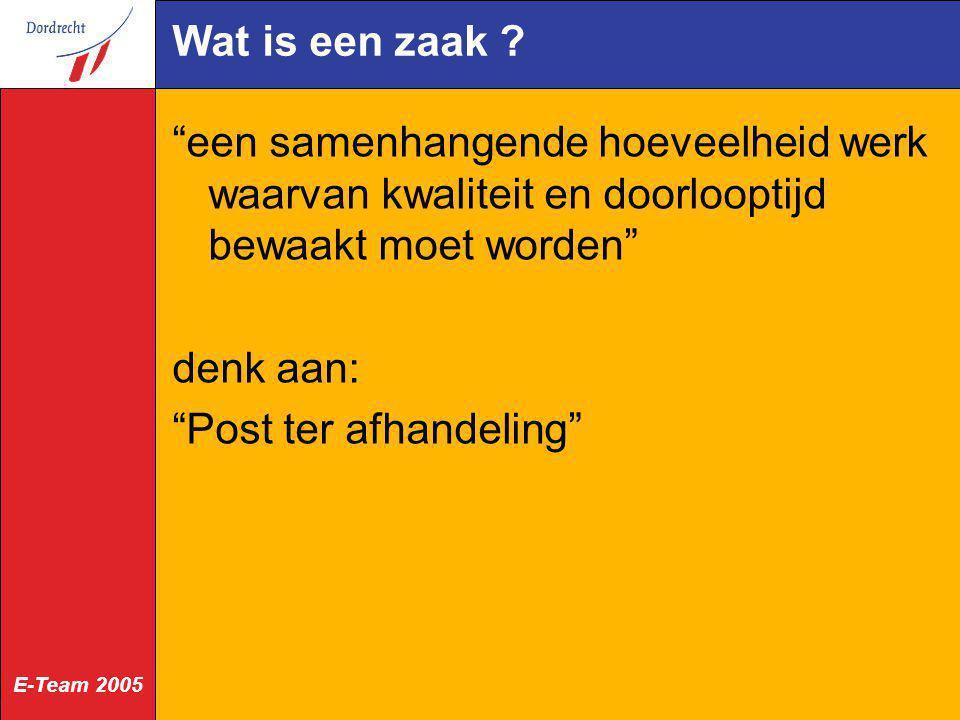 E-Team 2005 Omschrijving BRA Den Haag één systeem realiseren, waarin de burger via extranet (CDS) inzicht kan krijgen in de transacties die hij bij de gemeente heeft lopen en de status hiervan.