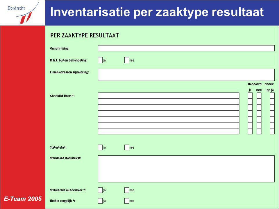 E-Team 2005 Inventarisatie per zaaktype resultaat