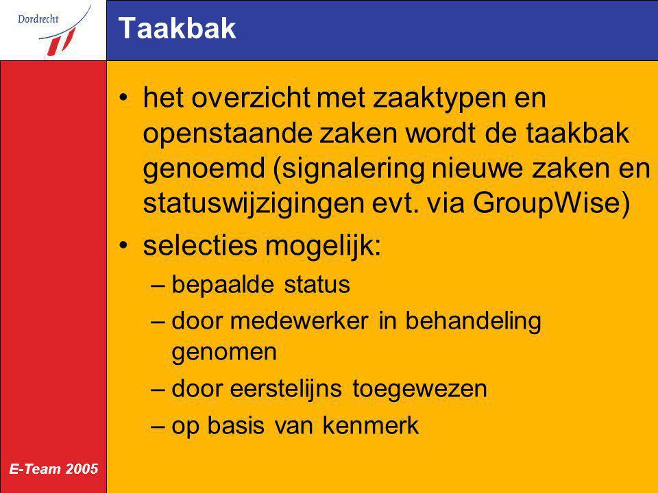 E-Team 2005 Taakbak het overzicht met zaaktypen en openstaande zaken wordt de taakbak genoemd (signalering nieuwe zaken en statuswijzigingen evt. via