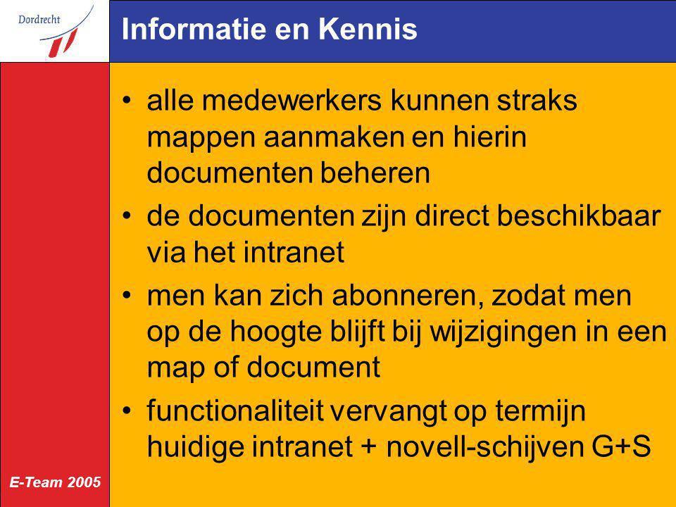 E-Team 2005 Informatie en Kennis alle medewerkers kunnen straks mappen aanmaken en hierin documenten beheren de documenten zijn direct beschikbaar via