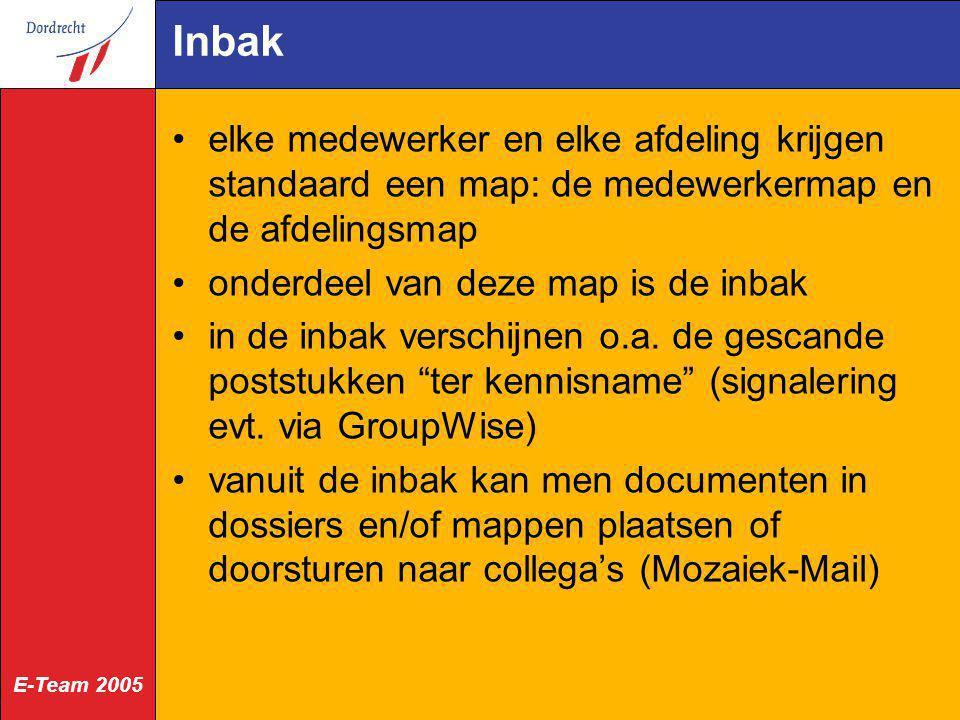 E-Team 2005 Inbak elke medewerker en elke afdeling krijgen standaard een map: de medewerkermap en de afdelingsmap onderdeel van deze map is de inbak i