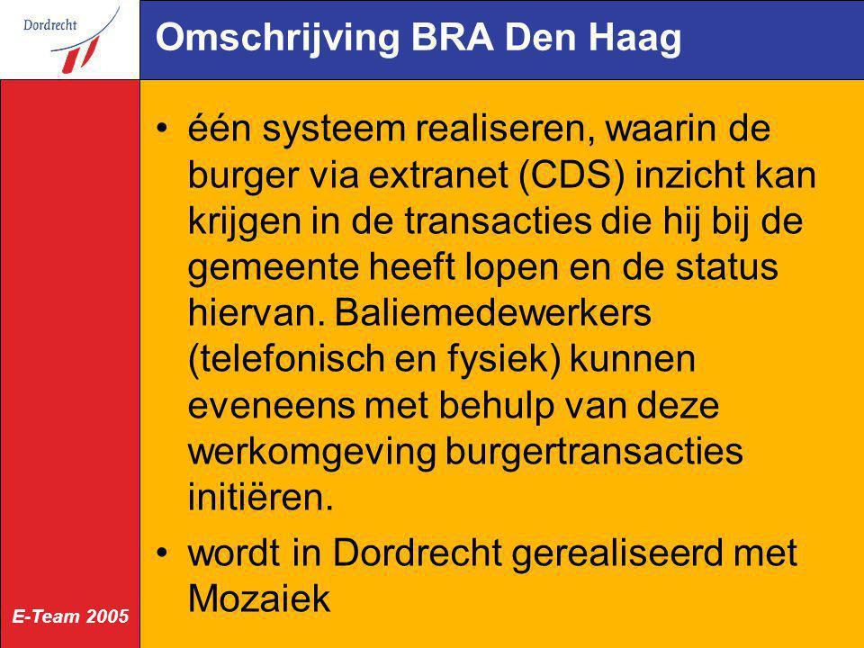 E-Team 2005 Omschrijving BRA Den Haag één systeem realiseren, waarin de burger via extranet (CDS) inzicht kan krijgen in de transacties die hij bij de
