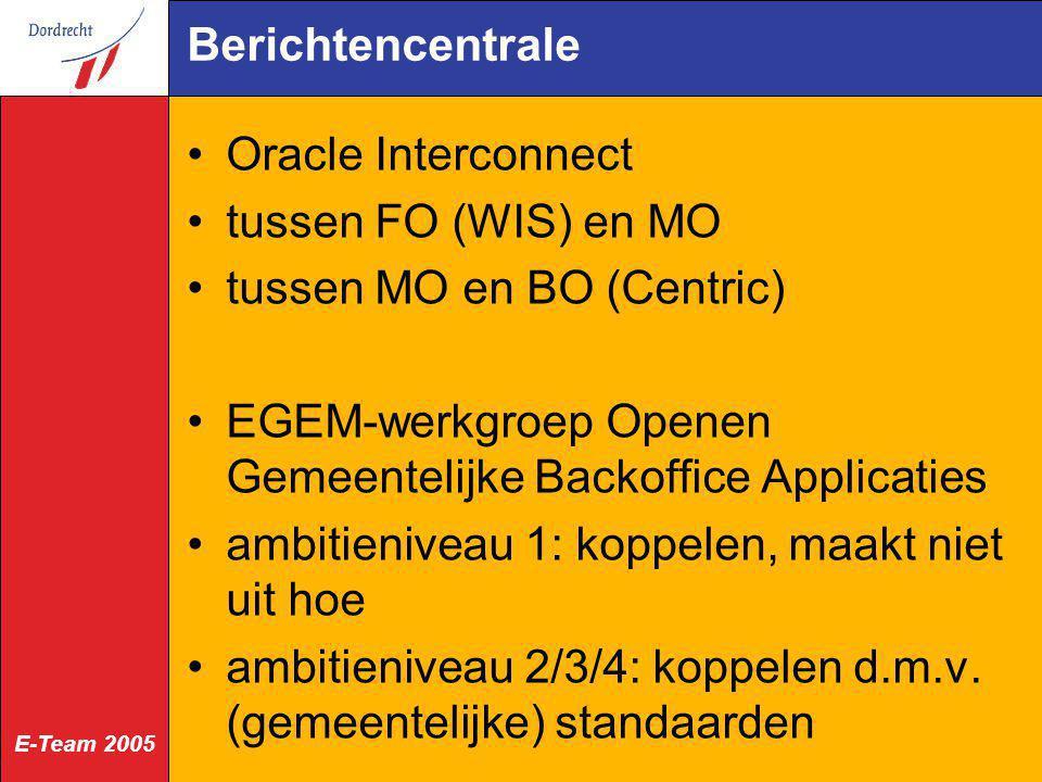 E-Team 2005 Berichtencentrale Oracle Interconnect tussen FO (WIS) en MO tussen MO en BO (Centric) EGEM-werkgroep Openen Gemeentelijke Backoffice Appli