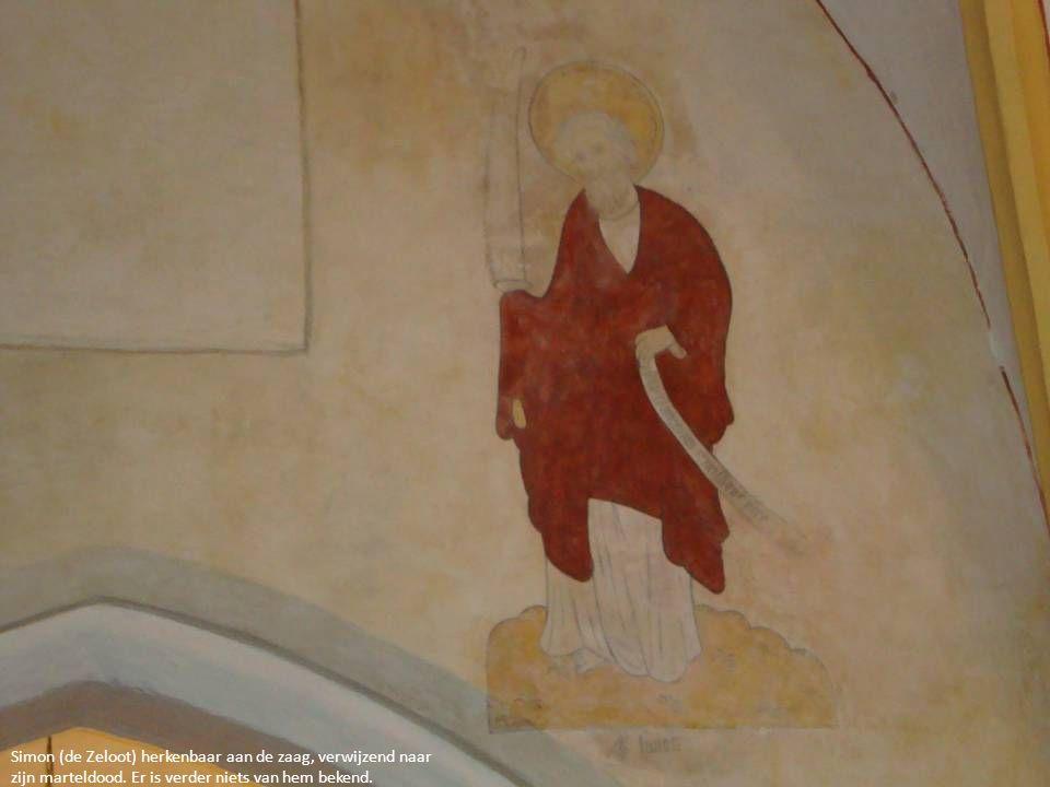 Simon (de Zeloot) herkenbaar aan de zaag, verwijzend naar zijn marteldood. Er is verder niets van hem bekend.