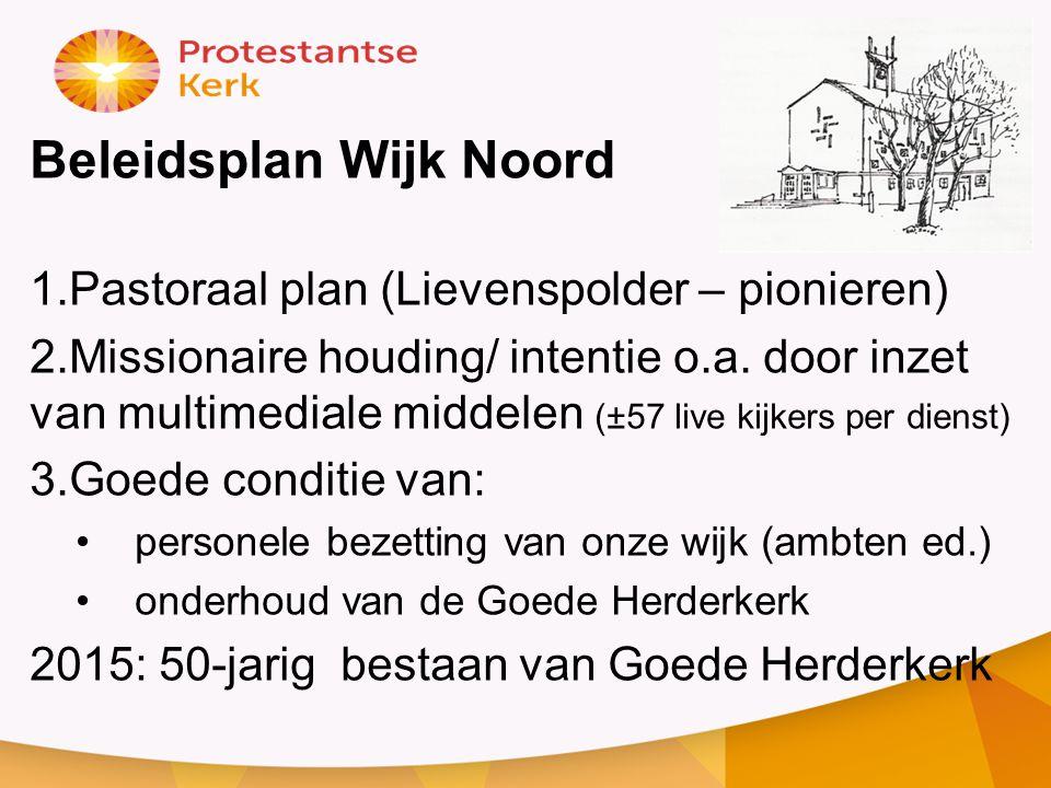 Beleidsplan Wijk Noord 1.Pastoraal plan (Lievenspolder – pionieren) 2.Missionaire houding/ intentie o.a. door inzet van multimediale middelen (±57 liv