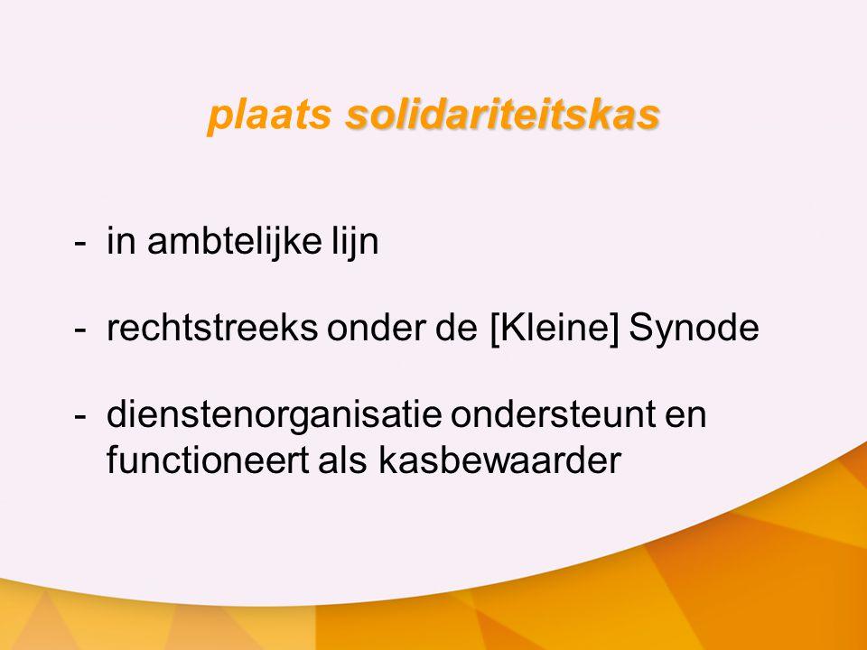 solidariteitskas plaats solidariteitskas -in ambtelijke lijn -rechtstreeks onder de [Kleine] Synode - dienstenorganisatie ondersteunt en functioneert als kasbewaarder