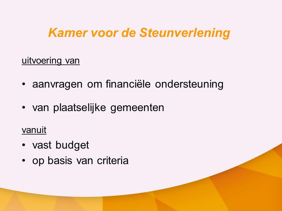 Kamer voor de Steunverlening uitvoering van aanvragen om financiële ondersteuning van plaatselijke gemeenten vanuit vast budget op basis van criteria