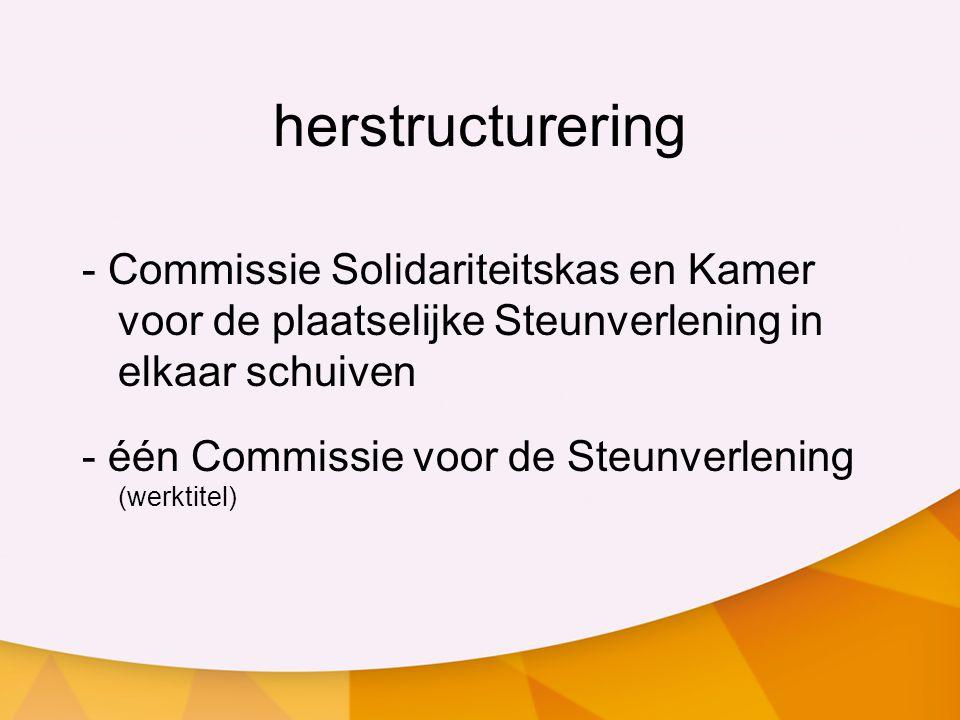 herstructurering - Commissie Solidariteitskas en Kamer voor de plaatselijke Steunverlening in elkaar schuiven - één Commissie voor de Steunverlening (werktitel)