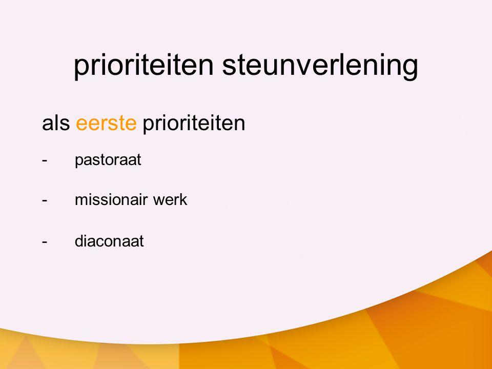 prioriteiten steunverlening als eerste prioriteiten -pastoraat -missionair werk -diaconaat