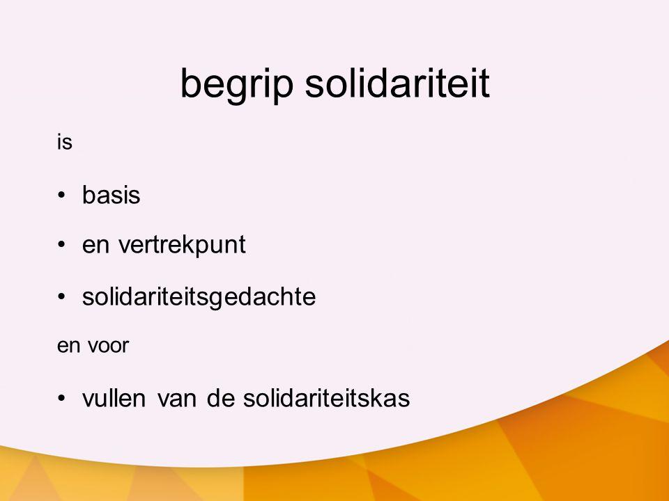 begrip solidariteit is basis en vertrekpunt solidariteitsgedachte en voor vullen van de solidariteitskas