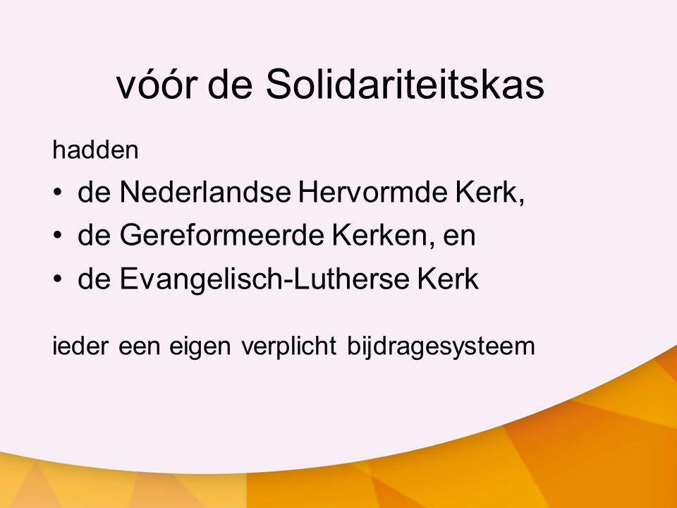 vóór de Solidariteitskas hadden de Nederlandse Hervormde Kerk, de Gereformeerde Kerken, en de Evangelisch-Lutherse Kerk ieder een eigen verplicht bijdragesysteem