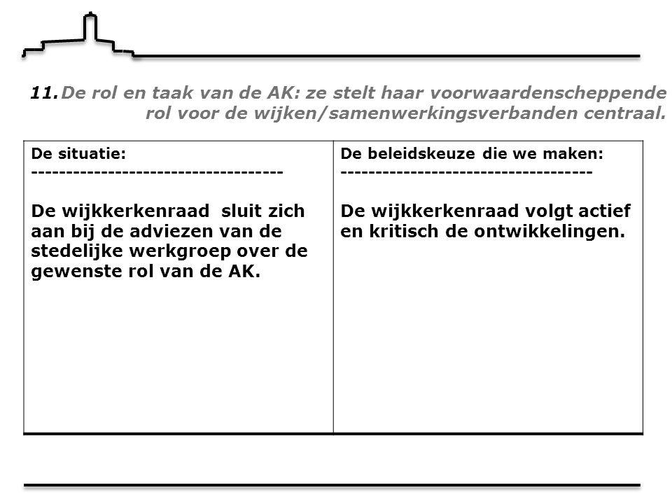 11.De rol en taak van de AK: ze stelt haar voorwaardenscheppende rol voor de wijken/samenwerkingsverbanden centraal.