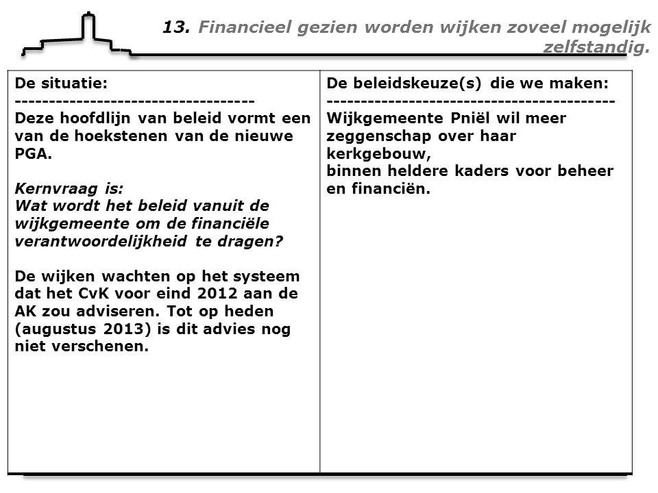13. Financieel gezien worden wijken zoveel mogelijk zelfstandig.