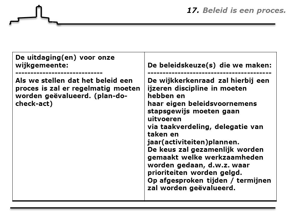 17. Beleid is een proces.
